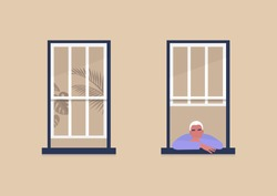 Young male character looking out the window, self-isolation and boredom, quarantine