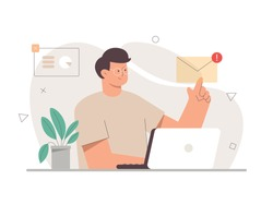 Young male character office worker working with a laptop and opens an email with his finger. On the background are icons for charts, diagrams, and infographics. Flat vector cartoon illustration.