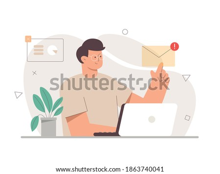Young male character office worker working with a laptop and opens an email with his finger. On the background are icons for charts, diagrams, and infographics. Flat vector cartoon illustration. Photo stock ©
