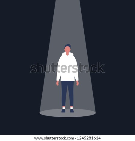 Young male character standing in the spotlight. Glory. Fame. Being on stage / flat editable vector illustration