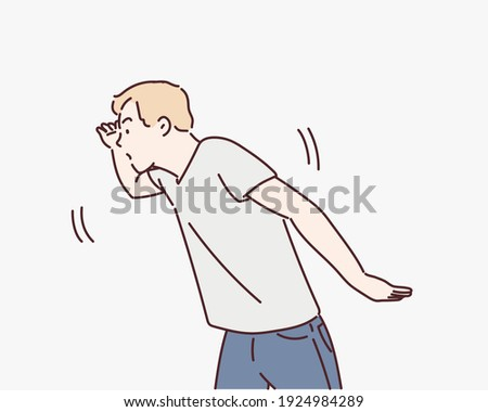 young male in grey t-shirt with searching expression. Hand drawn style vector design illustrations.  Сток-фото ©