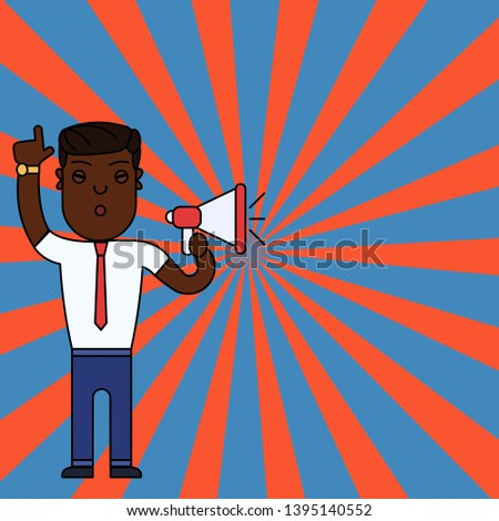 Young Male Standing with Raised Right Index Finger for Attention and Speaking into Megaphone. Creative Background for Announcements and Advertisements