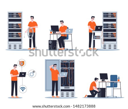 Young male sysadmin set. Collection of man working on computer and doing technical work with server. Support and administration. Isolated flat vector illustration Сток-фото ©
