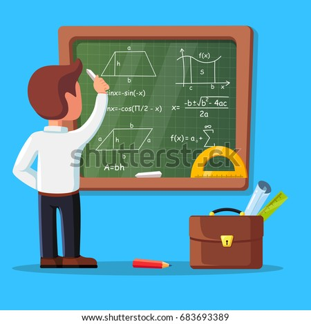 Young male teacher on lesson at blackboard in classroom. School tutor writing math formulas on chalkboard. Briefcase, ruler isolated on background. Education, teaching concept Vector flat illustration