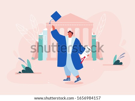 Young Man Alumnus in Academic Cap and Gown Hold Diploma Certificate on University Building Background. Graduation Student Celebrating, Character Laughing and Jumping Cartoon Flat Vector Illustration Foto stock ©