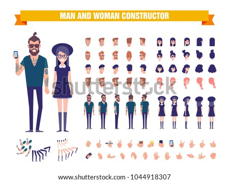 Young Man and woman character constructor with various views, hairstyles, poses and gestures. Front, side, back view. Cartoon style, flat vector illustration.