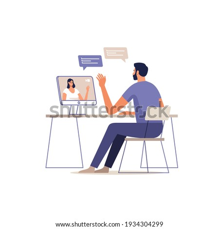 Young man and woman communicate online using a mobile devices. Concept of video call conference, remote working from home or online meeting. Vector illustration. Foto stock ©
