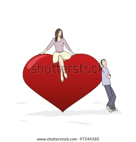 young man and woman flirting near a big heart - stock vector