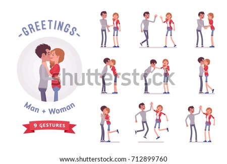 young man and woman greeting