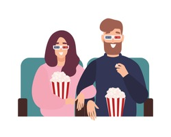 Young man and woman in 3d glasses watching film or movie together at cinema theater. Romantic date with partner found online through mobile dating application. Flat cartoon vector illustration.