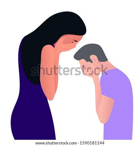 Young man and woman in despair. The guy and girl in profile is under great stress. Depressive disorder. Vector illustration in flat style.