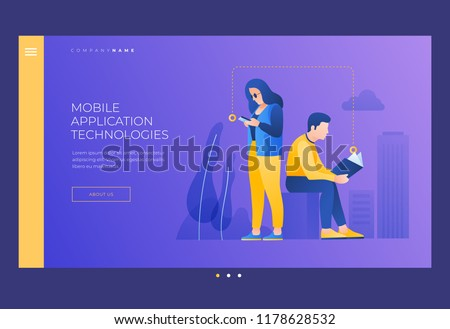 Young man and woman reading book and from your phone screen. Concept of reading and learning.  Self learning. Reading In Public Areas. Title for website. Homepage. Vector image.
