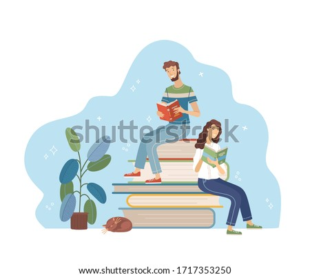 Young man and woman reading while sitting on stack of big books. Happy people relaxing with book cartoon vector illustration. Students study in library, literary club or book festival concept.