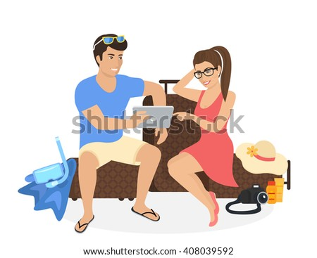 young man and woman sitting on