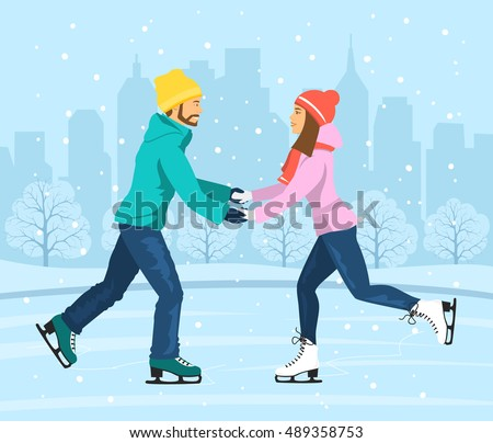 young man and woman skating on