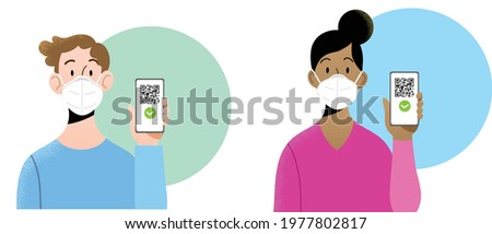 Young man and woman wearing ffp2  masks holding smartphone with QR code on screen. Concept of digital sanitary pass, of European Green Pass, or digital vaccine passport. Certificate of vaccination.