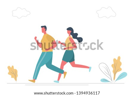 Young man and young woman in sportswear are running along the road in the park. There is also plants and clouds in the picture. Funny flat style. Vector illustration