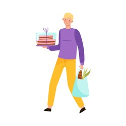 Young Man Carrying Birthday Cake and Shopping Bag Vector Illustration