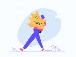 Young man carrying two heavy tickets. Flat modern concept vector illustration of people who buy tickets to cinema, concert or other events. Casual design on white background