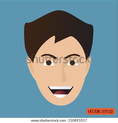 young man cartoon face