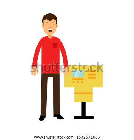 Young Man Character Standing Near ATM And Calling For Help Vector Illustration