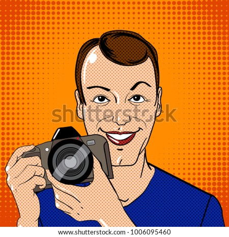 Young man character with photo camera in vintage comic book style. Vector illustration.