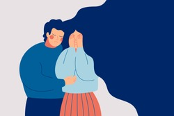 Young man comforting her crying best friend. Depressed woman covering face with hands and her husband consoling and care about her. Help and support concept. Hand drawn style vector illustration