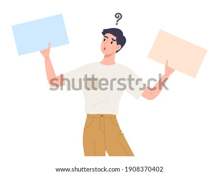 Young man confusing to choose between two things or message. Yes or No. Male holding blank placard to select one. Curious and wondering face expression. Hesitant decision. Flat vector illustration. Stockfoto ©