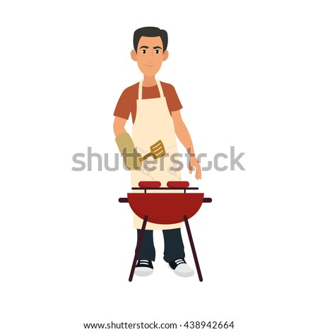 Young Man Cooking Sausages on Barbecue During Summer. Isolated vector on white background.