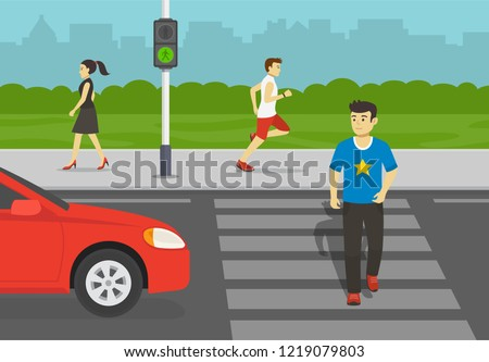 Young man crossing road on crosswalk with traffic lights. Look both ways before you cross the street. Flat vector illustration.