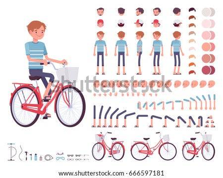 young man cycling city bike