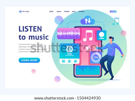Young man dancing to the music playing on his phone. Listening to music on social networks. Flat 2D character. Landing page concepts and web design