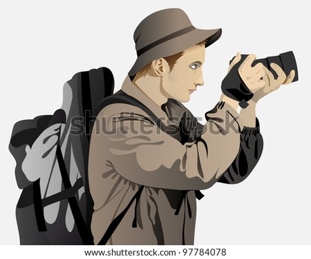 young man dressed in a tourist on a white background - stock vector