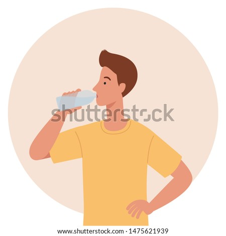 Young man drinking water from plastic bottle. Xoncept of a healthy lifestyle. Vector illustration in a flat style Stock foto ©
