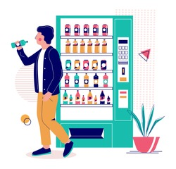 Young man drinking water he has bought from drink vending machine, flat vector illustration. Beverage vending machine with cold soft drinks in cans and bottles.