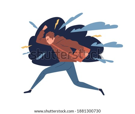 Young man feeling anger, rage. Irritated teen surrounded by lightnings. Concept of negative emotions, aggression and psychological problem. Guy in stressful situation. Flat vector cartoon illustration Сток-фото ©