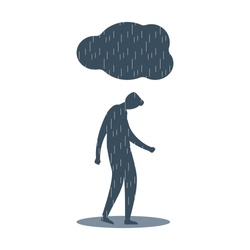 Young man feels distressed and depressed. Mental illness, disorder, anxiety depression concept. Dark cloud with rain above unhappy guy standing in puddle. Flat vector illustration