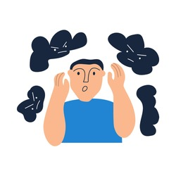 Young man have panic attack, anxiety. Vector illustration on white background.