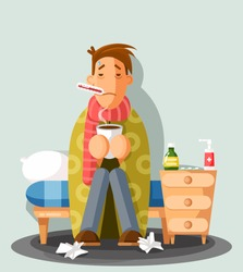 Young man having a cold, holding a cup, cartoon style vector illustration. A guy in red scarf with thermometer in his mouth