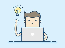Young Man Having A Good Idea. Business Concept Illustration.