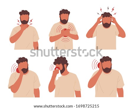 Young man having different types of pain. Set of illustrations with a man touching his neck, chest, head, cheek, ear, blowing nose. Vector hand drawn character illustration.