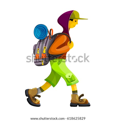 Young man hiker with rucksack walking. Isolated clip art vector illustration