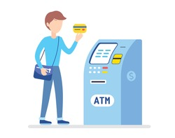 Young man holding a credit card and ATM bank machine isolated, cash money, loan, wages funds payment or withdrawal illustration cartoon flat vector.
