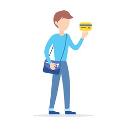 Young man holding a credit card isolated, cartoon flat vector illustration.