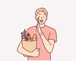 young man holding grocery bag . Hand drawn style vector design illustrations.