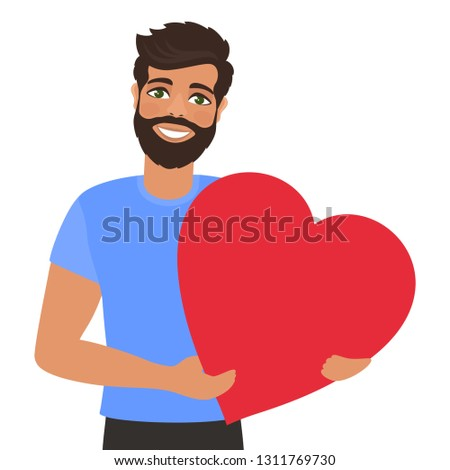 Young man holding loving heart. Greeting card for Valentine's Day, Birthday, Mother's Day or wedding. Fall in love. Romantic concept. Cartoon characters. Isolated vector on white background.