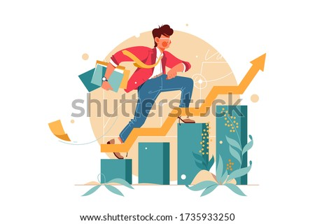 Young man hurry up consisting of finance graph. Isolated concept female employee character person with document folders, career growth with arrow. Vector illustration.