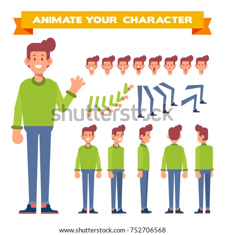 Young Man in a warm sweater. Front, side, back, 3/4 view animated character. Constructor with various views,  face emotions, poses. Cartoon style, flat vector illustration.