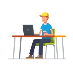 Young man in baseball cap working on a black laptop computer at his clean office desk. Flat style color modern vector illustration.