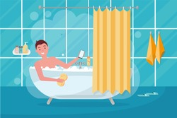 Young man in bathtub bubble foam. Bathroom home interior with bath in tile. Guy holding washcloth. picture on personal hygiene. Flat cartoon vector illustration
